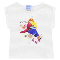 Tee-shirt manches courtes rayé print Disney La Reine des Neiges