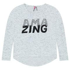 Junior - Tee-shirt en jersey effet slub avec message printé
