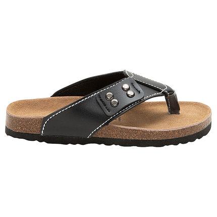 Nu-pieds avec bride effet cuir et semelle moulée effet liège