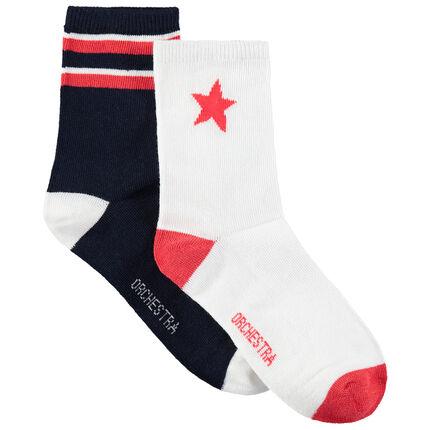 Lot de 2 paires de chaussettes avec étoile et bandes en jacquard