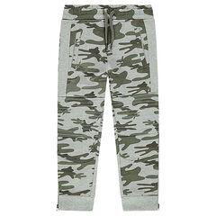 Pantalon de jogging en molleton bicolore avec découpes