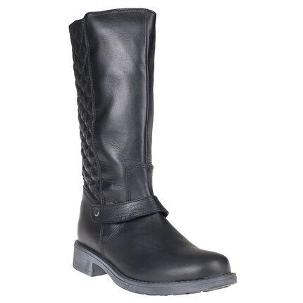Bottes noires en cuir avec zip et effet matelassé à l'arrière du 28 au 35