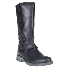 Bottes noires en cuir avec zip et effet matelassé à l'arrière du 36 au 38