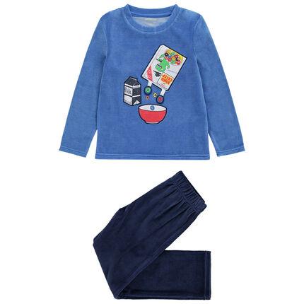 Pyjama en velours avec paquet de céréales printé