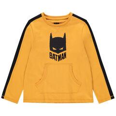 T-shirt manches longues en coton bio à poche kangourou et Batman en sequins magiques