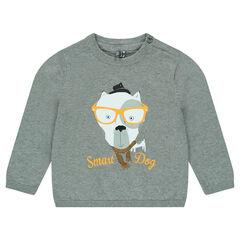 Pull en tricot uni avec animal printé