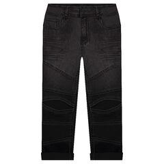 Jeans slim effet used avec découpes sur les jambes