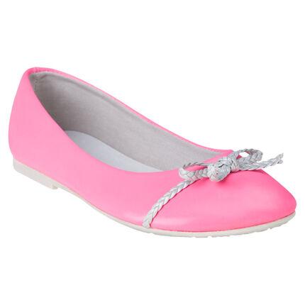 Ballerines coloris rose fluo avec noeud tressé