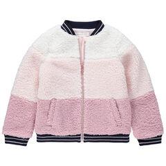 Veste en sherpa moutonnée tricolore doublée jersey