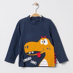 Sous-pull en coton bio col cheminée motif dinosaure