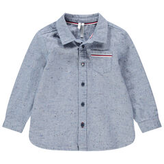 Chemise manches longues en coton neps avec poche plaquée