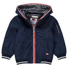 Coupe-vent uni à capuche avec doublure en jersey