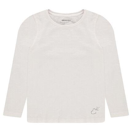Tee-shirt manches longues en jersey avec logo argenté printé