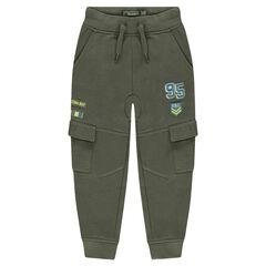 Pantalon de jogging en molleton avec badges et poches