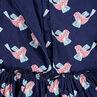 Robe manches longues en satin de coton avec oiseaux all-over