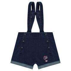 Salopette short en molleton effet jeans avec noeud au dos