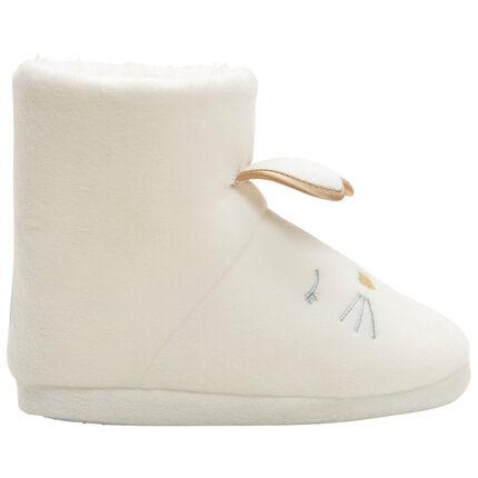 Chaussons forme bottes doublés sherpa tête de lapin