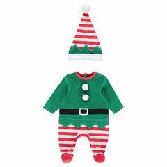 Dors-bien en velours lutin esprit Noël avec bonnet rayé