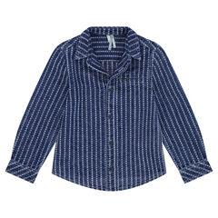 Chemise manches longues en coton fantaisie effet jeans