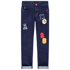 Jean effet used badges bouclette et Mickey Disney