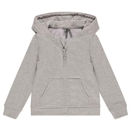Junior - Gilet en molleton gris chiné à capuche