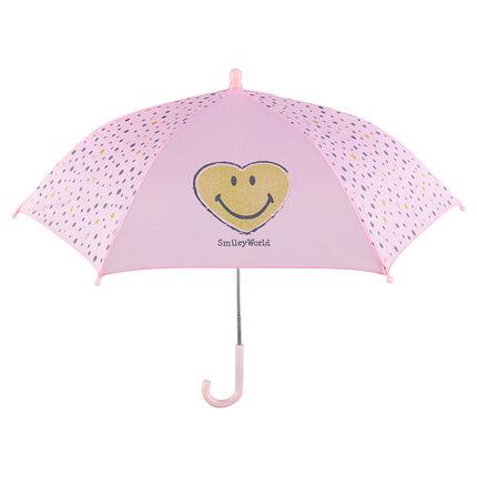 Parapluie rose avec pois et Smiley