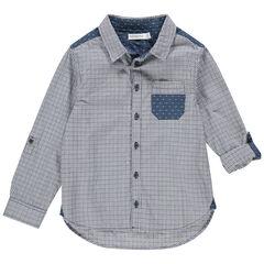 Chemise manches longues à carreaux et pois avec poche