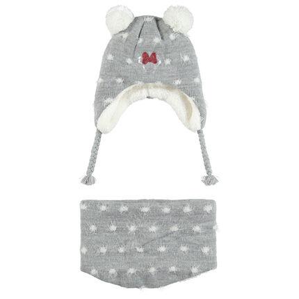 Ensemble bonnet et snood doublés sherpa motif Minnie Disney