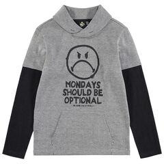 Junior - T-shirt manches longues effet 2 en 1 avec print Smiley