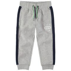 Pantalon de jogging en molleton gris chiné avec bandes contrastées