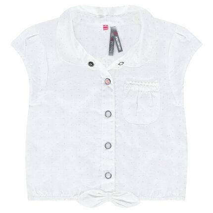 Chemise courte imprimée all-over avec poche et noeud
