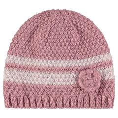 Bonnet en tricot rayé avec fleur fantaisie