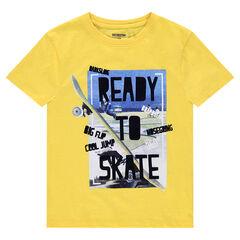 Junior - Tee-shirt manches courtes en jersey uni avec print fantaisie