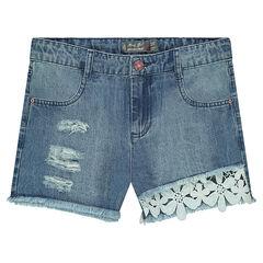 Junior - Short en jeans effet used avec fleurs en guipure