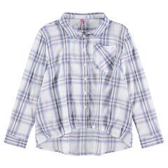 Junior - Chemise manches longues à carreaux coupe asymétrique