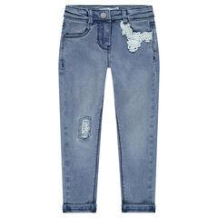 Jeans effet used slim avec empiècements en dentelle