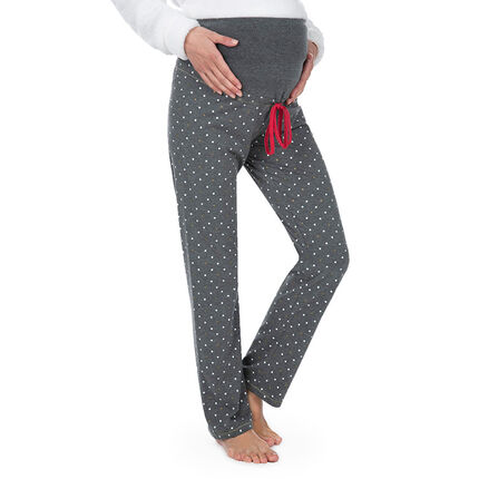 Pantalon de grossesse homewear imprimé pois all-over