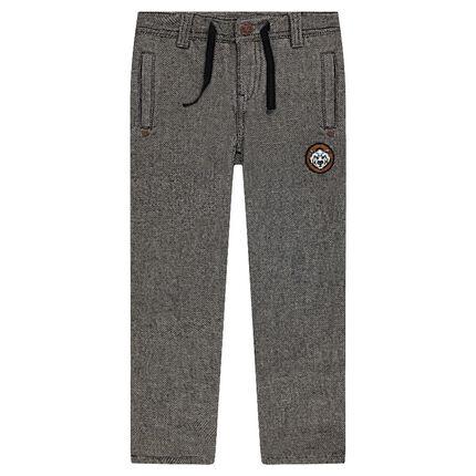 Pantalon droit en coton fantaisie doublé jersey