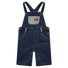 Salopette courte en molleton effet jeans avec poches et print renard