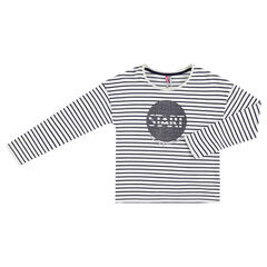 Junior - Tee-shirt manches longues en jersey rayé avec print pailleté