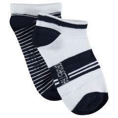 Lot de 2 paires de chaussettes courtes avec rayures jacquard