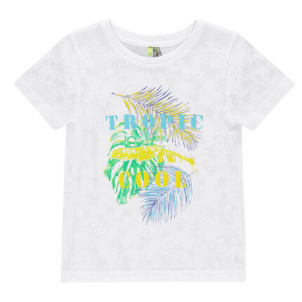 Tee-shirt manches courtes effet dévoré avec print