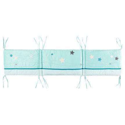 Tour de lit en popeline et velours avec étoiles brodées