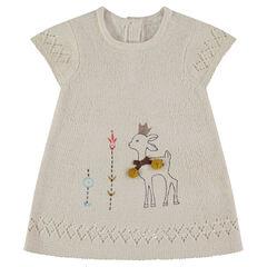 Robe sans manches en tricot avec faon printé et détails brodés