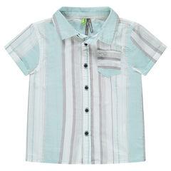 Chemise manches courtes avec rayures verticales et poche