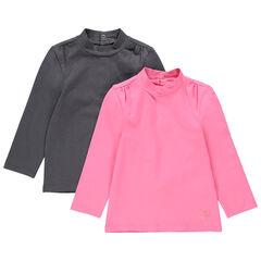 Lot de 2 sous-pull en jersey à col montant