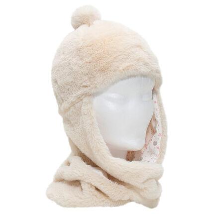 Bonnet écharpe en sherpa avec pompon et doublure en jersey