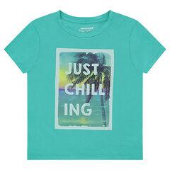 Tee-shirt manches courtes en jersey avec print fantaisie