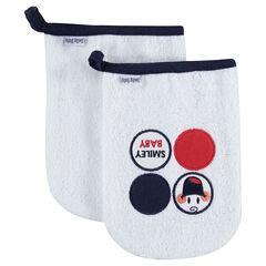 Lot de 2 gants de toilette en éponge avec badges Smiley