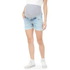Short de grossesse en jeans avec perles rivetées